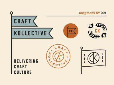 Craft Kollective Brand shipment branding typewriter grain hops seal beer flag logo brand
