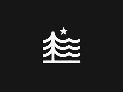 Tree Mark flag evergreen thick lines waves forest landscape outdoors mark logo star tree