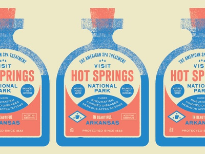 Type Hike –Hot Springs National Park project poster arkansas park old timey lingo typography label bottle water hot springs national park