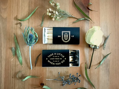 Playing Matchmaker wedding memento giveaway collateral poetry light flowers fire packaging logo matchbook matches