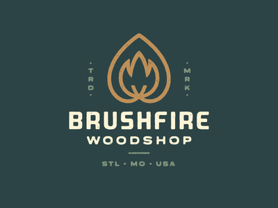 Brushfire Woodshop handmade st. louis flame tree brand woodworking rough mark woodshop wood fire logo