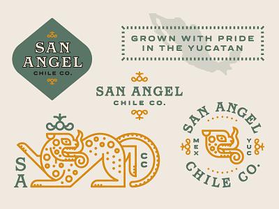 San Angel Chile Co. Brand badge mark lockup mexico type farm mayan jaguar logo brand
