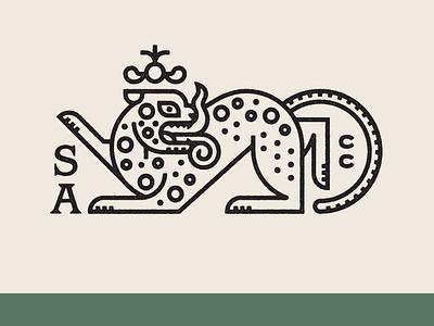San Angel Chile Co. Brand II badge mark lockup mexico type farm mayan jaguar logo brand