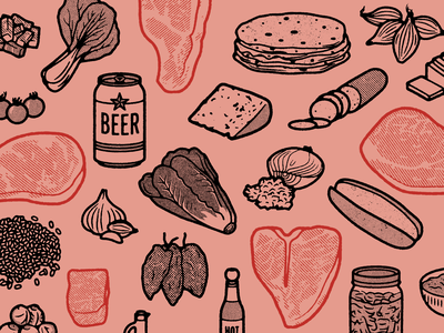 Takin' It Out and Choppin' It Up lettuce garlic onion grill barbecue halftone pattern food and drink beer steak book design illustration food