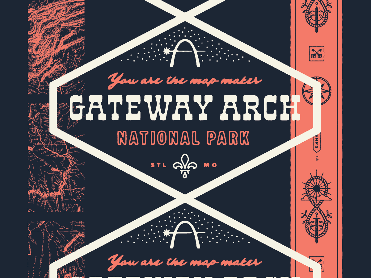 Type Hike – Gateway Arch National Park print lettering type hike typography type fleur de lis kingdom of heaven sun key sword compass st louis arch st louis illustration national park poster