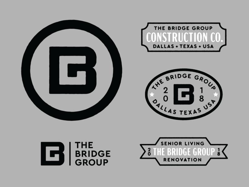 Bs & Gs lockup branding negative space monogram bg construction design mark seal badge typography brand logo