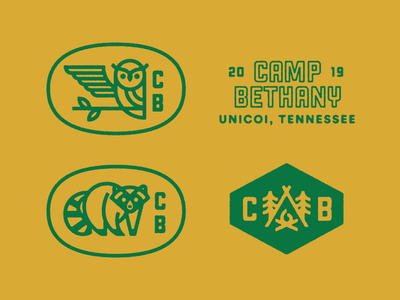 Summertime and the Campin' is Easy seal brand summer camp summer kids branch typography tennessee camping campfire hexagon badge tent tree fire icon owl raccoon logo camp