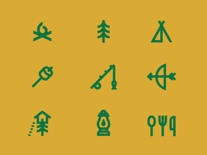 Summertime and the Icons is Easy brand knife fork spoon icons camping cutlery utensils lantern treehouse archery fishing marshmellow tent tree fire summer camp campfire camp icon