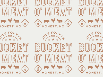 Bucket O' Meat 2019 mmm eat my meat it cant be beat outline lockup type koozie brand 2019 pig chicken cow independence day july 4th missouri grill bbq meat logo