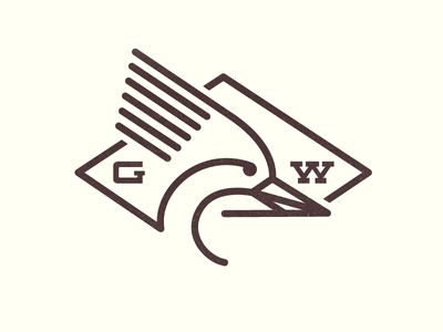 Grant's Woodpecker Logo woodpecker logo seal stamp initials line animal bird g w