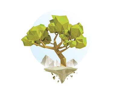 Peaceful Sanctuary design art landscape minimalist flat simple poly graphic vector