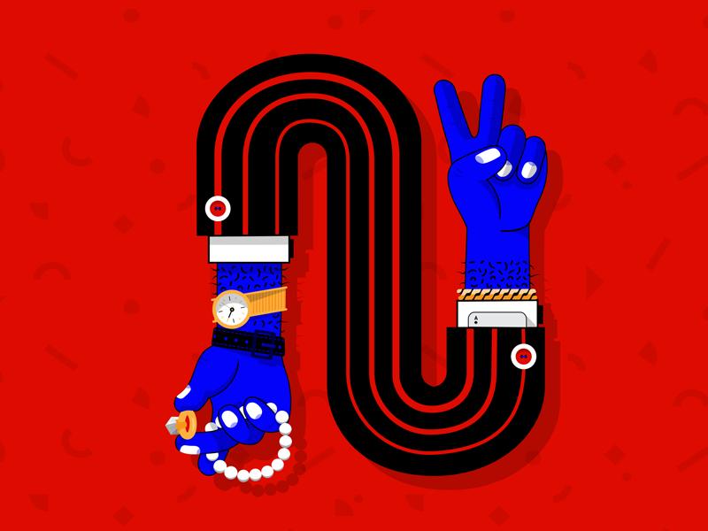 Sleight of Hand gold black blue red hand sleight design vector art direction illustration