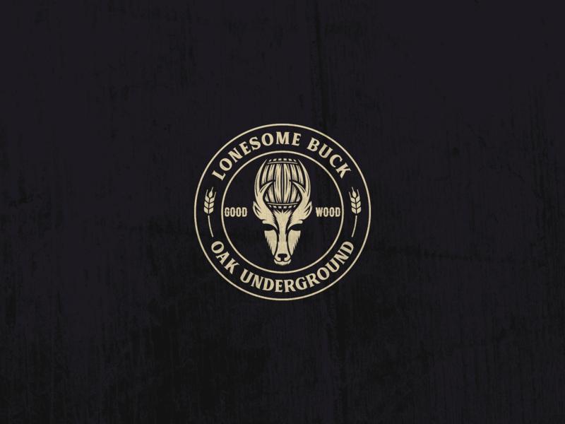 Lonesome Buck - Oak Underground Beer Logo wooden wood rustic lonesome buck barrel-aged beer branding barrel buck microbrewery craftbeer craft beer branding negative space logo design logo