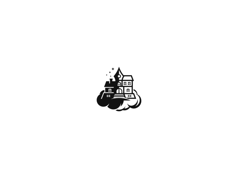 Rivka Second Logo Concept publishing house black and white clouds house fantasy book publishing clean negative space geometric branding logo design logo
