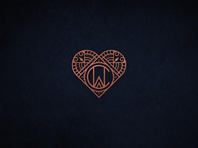 CW Monogram and Heart cookies stylish art deco modern vintage vintage luxurious luxury gift heart lineart branding geometric logo design logo line art monogram