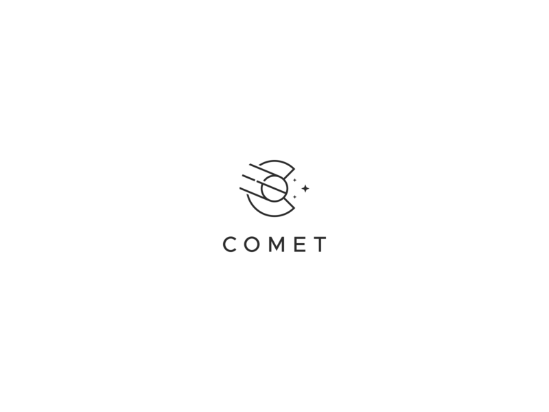 Comet Lettermark minimalist logo minimalism technology stars space comets comet lettermark line art minimal clean minimalist simple branding geometric logo design logo