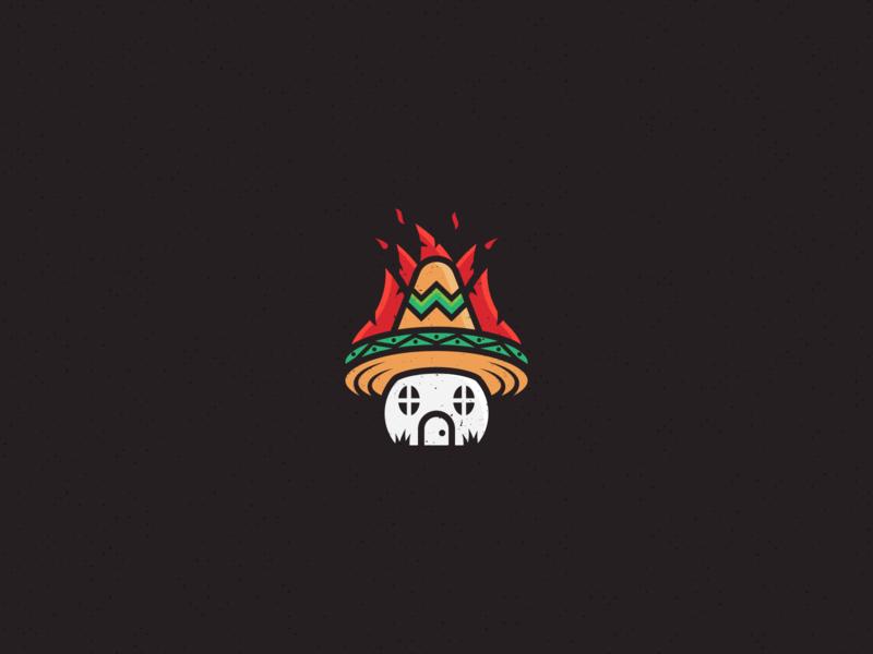 ChiliCasa sombrero simple geometric brand design identity fire playful habanero chili sauce hot sauce pepper mexico house chili pepper chili branding logo design logo