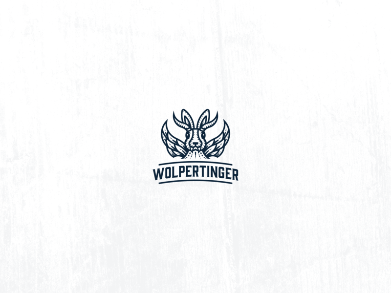 Wolpertinger distillery alcohol spirits stylish mythology mythical creature mythical folklore rabbit bavarian germany german wolpertinger modern vintage branding geometric logo design logo
