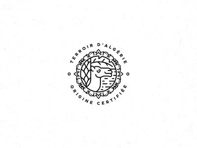 Algeria Certificate Of Origin Mark origin mark badge palm products fruits fruit food algerie algeria camel line art monoline clean minimal minimalist simple geometric logo design logo