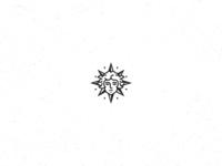 Sun King Logo monochromatic monochrome black and white french france sun portrait modern vintage line art minimalist clean simple branding geometric logo design logo