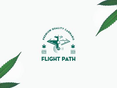 Flight Path Logo cannabis branding modern vintage blunt plane 420 marijuana cannabis clean negative space branding geometric logo design logo