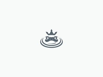 Pond King Logo monochromatic playful frog prince frog logo frogs crown swamp pond frog modern animal minimalist clean negative space simple branding geometric logo design logo