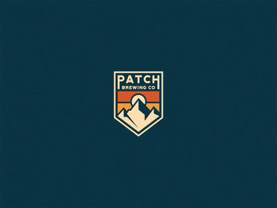 Patch Brewery Logo brewery geometic sunset patch mountains mountain craftbeer microbrewery beer modern vintage negative space clean simple branding geometric logo design logo