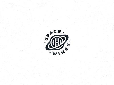 Space Wines Logo clean logo black and white monochromatic stars space identity barrel saturn wine winery minimalist clean negative space simple branding geometric logo design logo