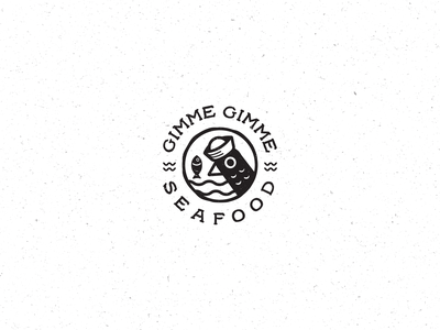Gimme Gimme Seafood Logo ocean playful logo fun simple logo hand drawn vintage fish seagull seafood restaurant seafood sea naive modern vintage minimalist line art simple branding logo design logo