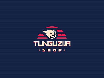Tunguzija Shop Logo arcade games arcade machine arcade hardware computers webshop identity pc gaming retro gaming retrowave computer asteroid comet modern vintage branding geometric logo design logo
