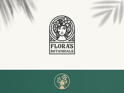 Flora's Botanicals Logo plants art nouveau vintage apothecary portrait woman flowers botanical logo natural floral flora flower botanical botanicals modern vintage clean branding geometric logo design logo