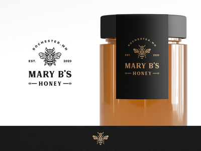 Mary Bees Honey modern vintage lineart geometic clean beekeeping beekeeper mjod honey bee viking norse honeybee honey simple branding geometric logo design logo