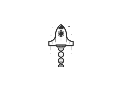 Helix Space Shuttle clean minimal rocket space simple technology dna helix minimalist space shuttle logo