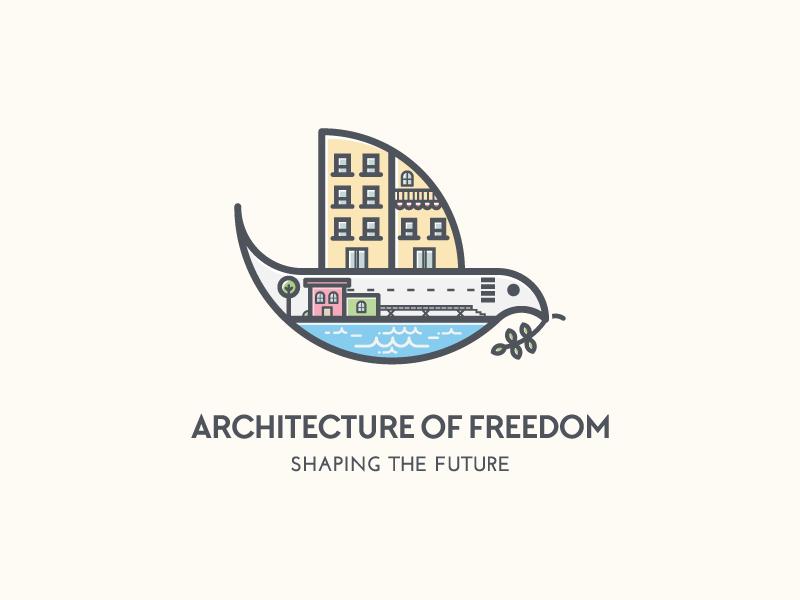 Architecture Of Freedom playful city dove architecture logo design logo