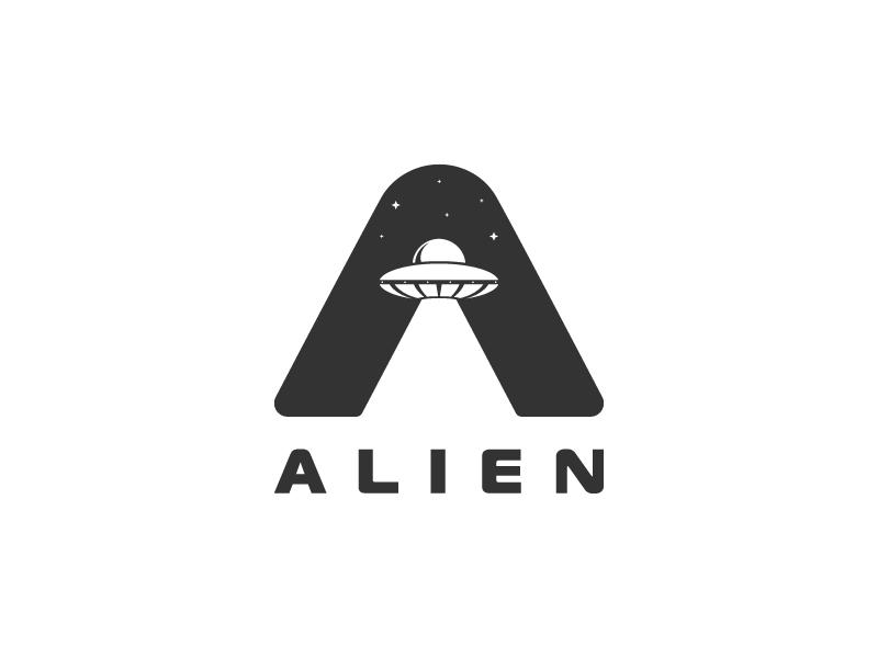 Alien Logo branding logo design simple geometric space spaceship ufo negative space logo alien