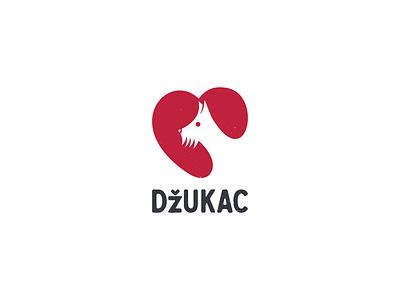 """""""Dzukac"""" Pet Shop Logo care heart pet negative space dog logo design logo"""