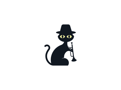 The Countercats Logo cute music band logo design trumpet jazz cat logo