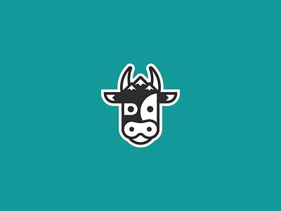 Alpine Cow cute simple logo design alps mountains geometric logo cow