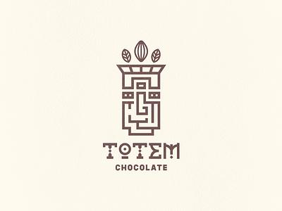 Totem Chocolate Logo aztec cocoa typography totem geometric chocolate logo design logo