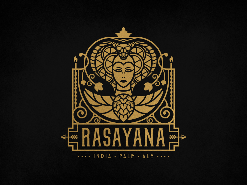 Rasayana IPA Logo india pale ale ale hops branding geometric art nouveau art deco ipa alchemy india beer logo design logo