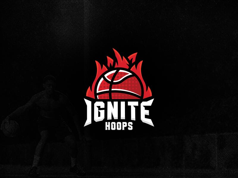 Ignite Hoops Logo negative space modern fire geometric hoops ignite sport branding sport basketball logo design logo