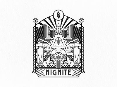 Nignite Job Fair Illustration vector branding logo clean design negative space geometric technology retro futurism steam punk art deco illustration