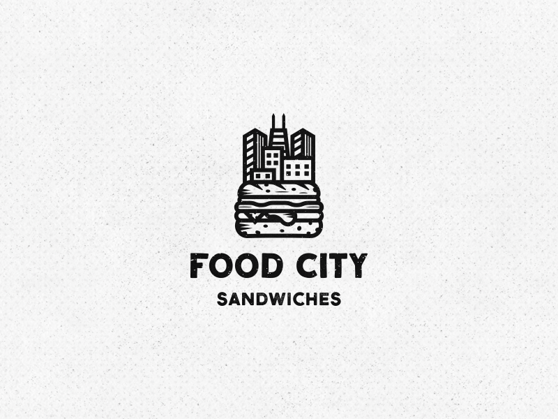 Food City Logo food truck minimal minimalist clean fast-food modern vintage cityscape city sandwiches sandwich food simple branding logo design logo
