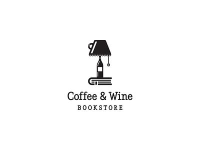 Coffe and Wine Bookstore book wine bottle wine coffee shop coffee cup coffee minimal clean minimalist branding simple geometric logo design logo