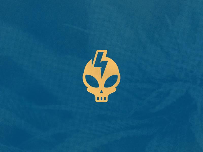 CrippyX - Logo For Hawaiian Cannabis Seed line marijuana negative space design hawaii hemp minimalist clean minimal branding thunderbolt bolt cannabis branding cannabis skull alien simple geometric logo design logo