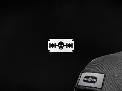 Razor blade & Skull Logo punk razor razorblade skull streetwear apparel clothing brand clothing geometric clean negative space branding simple logo design logo