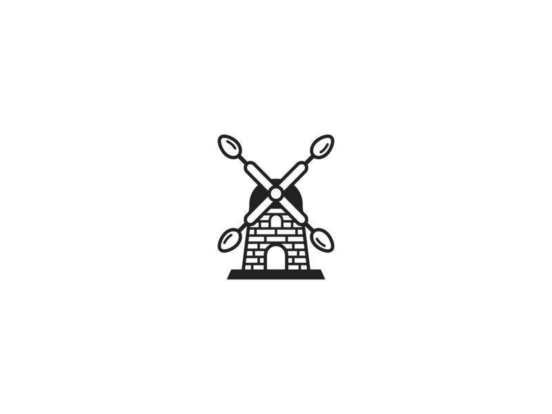 Windmill and spoons clean modern oatmeal spoons windmill line art minimalist simple branding geometric logo design logo