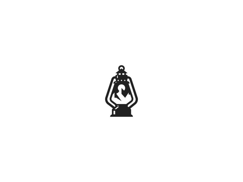 Lantern & Mountains minimalist mountains mountain lantern design summit negative space simple branding geometric logo design logo