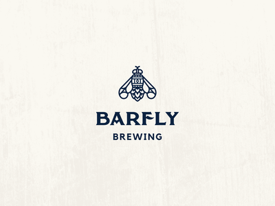 Barfly Logo modern vintage hops barrel barfly fly brewery microbrewery craftbeer craft beer line art minimal clean minimalist simple branding geometric logo design logo