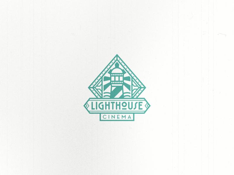 Lighthouse Deco Logo luxurious light lighthouse sea line art badge vintage filmstrip movie film modern vintage gatsby art deco negative space branding geometric logo design logo